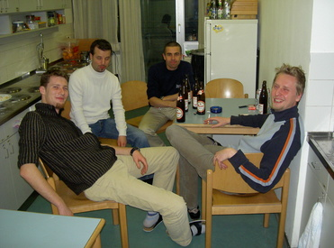 Sebu, Ewald, Seppi & Oliver in our kitchen.